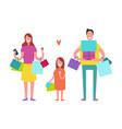 smiling family shopping vector image