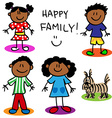 Stick figure black family vector image vector image