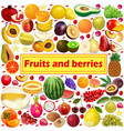 Summer background fruits and berries icon set