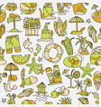 summer travel and beach sketch seamless pattern vector image