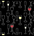 wine glasses and wine seamless pattern vector image