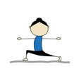 Woman practicing yoga warrior pose