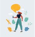 woman talking smartphone speech bubble above vector image vector image