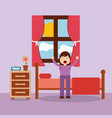 woman waking up in the bed and stretching vector image vector image