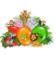 Word zoo with cartoon wild animal vector image