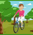 young woman riding a bicycle in a park vector image