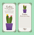 vintage label with cactus plant vector image