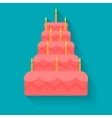 cake for birthday in style flat vector image