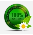 100 natural green label isolated on white vector image vector image