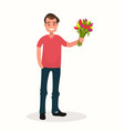 a man with a bouquet flowers vector image vector image