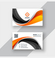 abstract orange and black wave business card vector image vector image