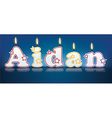 AIDAN written with burning candles vector image vector image