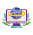 back to school computer planet science elementary vector image vector image