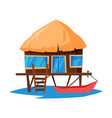 beach bungalow on water tropical sea summer vector image vector image
