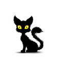 black cat sitting isolated background vector image vector image