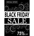 Black friday background with floral desorations vector image