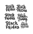 black friday typography lettering text set on vector image