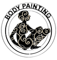 body painting stamp vector image vector image