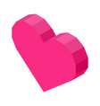 bright pink angular heart computer icon isolated vector image
