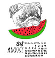 calendar with dry brush lettering august 2018 vector image vector image