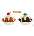 chocolate christmas cupcake fairy cake vector image vector image