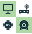 computer icons set collection of broadcast vector image vector image