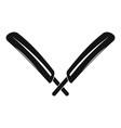 crossed cricket bats logo simple style vector image vector image