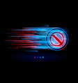 digital neon flow with stop sign forbidden vector image