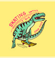 dinosaur on a skateboard label for typography vector image vector image