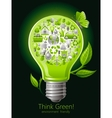 Ecological set with green icons on black vector image