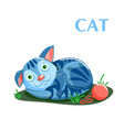 educational flashcard kitten resting after a game vector image vector image