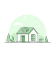 farm house - modern thin line design style vector image vector image