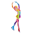 figure ice skating silhouette vector image vector image