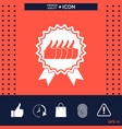 five symbols thumb up gesture - label with ribbons vector image vector image