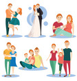 flat icons set happy loving couples vector image vector image