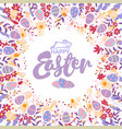 floral wreath with spring flowers ang eggs happy vector image vector image