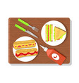 food placed on wooden board vector image vector image