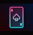 glowing neon line playing card with spades symbol