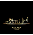 Gold silhouette of Ankara on black background vector image