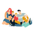 group portrait smiling family members and vector image vector image