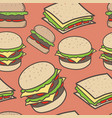 hand drawn fast food and burgers pattern vector image vector image
