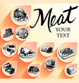 hand drawn meat food set vector image vector image