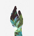 hand silhouette floral light green tones vector image