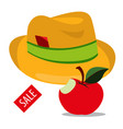 hat and apple vintage things sales logo vector image vector image