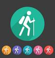 hiking treking icon icon flat web sign symbol logo vector image vector image