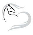 horse mane heart vector image
