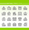 house exterior simple black line icons set vector image