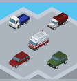 isometric transport set of car lorry armored and vector image vector image