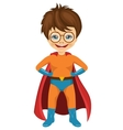 little boy dressed in a superhero costume vector image vector image