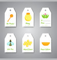 organic honey gift tag hanging labels with flat vector image vector image